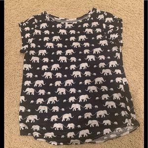 Ann Taylor Loft elephant print linen tee